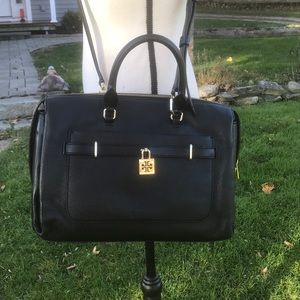 Tory Burch Black Leather Large Satchel/Crossbody